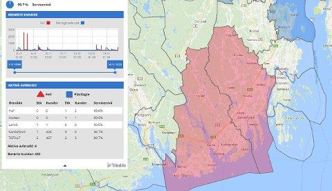 UTEN STRØM: Ifølge avbruddskartet til Skagerak Energi mistet 426 strømmen i Sandefjord tirsdags kveld.