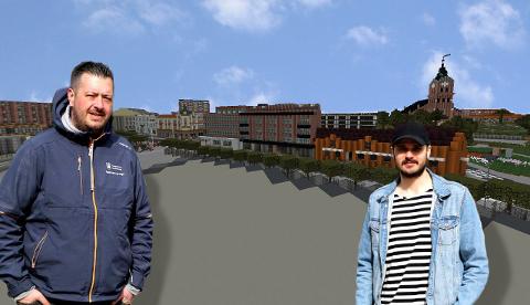 SENTRUM: André Altier (t.v.) og Ole Martin Pedersen Gjestad ved Ungdommens Kulturhus ser frem til å markere 17. mai digitalt i år også.