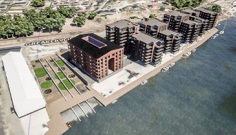 LAVERE: Slik ser arkitektene for seg utbyggingen på SMV. Høyden på den høyeste blokka er justert ned med fire etasjer, men fortsatt skal det bli godt over 200 leiligheter.