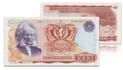 Mellom 1975 og 1987 ble den siste tusenlappen med portrett av Henrik Ibsen produsert.