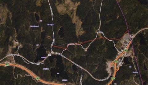 Den røde stiplede linjen viser traseen for den planlagte jordkabelen fra Hån til Marker trafostasjon. (Illustrasjon fra søknaden.)