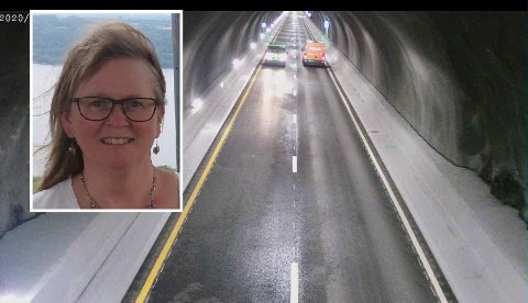 KRITISK: May Ann Levik var en av bilistene som kjørte i Ryfylketunnelen da en varebil (bilen til venstre i bildet) kom kjørende i motsatt kjøreretning. Hun er kritisk til hvor lang tid det gikk før VTS satte i gang tiltak i tunnelen.