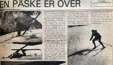 FAKSIMILE: Strandbuen fortalte både før og etter påskehelga i 1976 om gode skiforhold i Lyngsheia.