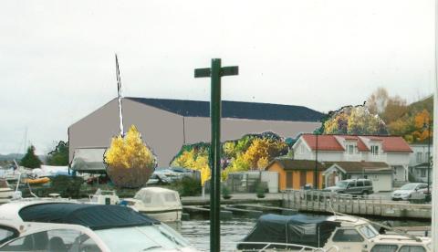 OPPLAG: Stathelle marina vil bygge to permanente haller for båtopplag, men planene har møtt motstand i fylkeskommunen.