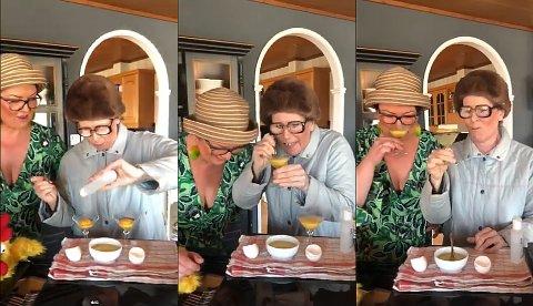 Harda Heggem pisker eggeplomme og antibac. Nydelig, forsikrer hun overfor Doris Bøe.