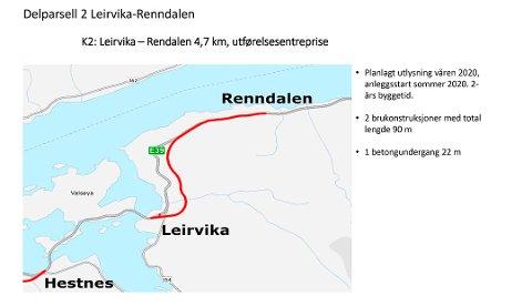 Utbedring av parsellen Leirvika og Renndalen, som er en del av ny E 39 Betna-Stormyra, omfatter bygging av 4,8 kilometer ny europaveg. Cirka 40 prosent av den nye vegen vil ligge utenfor dagens veg.