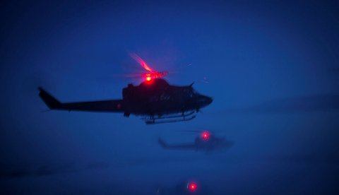 SIRKLET RUNDT: Et Bell 412 helikopter, på øvelse, ble observert i luftrommet mellom Horten, Tønsberg og Rygge.
