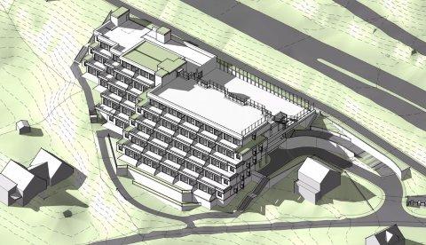 OMDISKUTERT: Reidar Eckhoffs tegning av terrassehus med 40 leiligheter i Hellinga på Hagan.