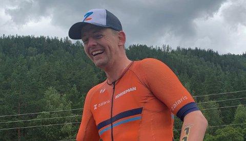 FORNØYD: Det var en fornøyd 25-åring som kom i mål på toppen av Gaustatoppen etter en lang konkurranse lørdag.