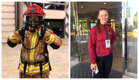 Marthine Myhr (20) under røykdykkarkurs til venstre.