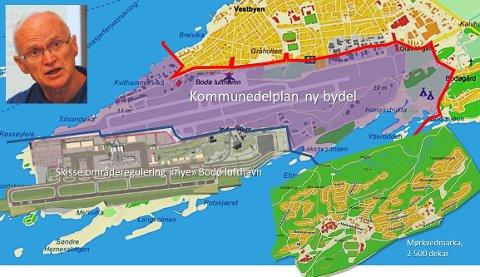 Illustrasjon av planområdet for den nye bydelen, der også ei skisse av reguleringsplanen for nye Bodø lufthavn og ei kartskisse over bydelen Mørkvedmarka er lagt inn i samme målestokk. Hernes er i areal på størrelse med Mørkvedmarka. Planprogrammet for Hernes antyder inntil 15 000 boliger i bydelen, mot Mørkvedmarkas ca. 2 500.