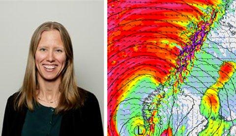 Storm-meteorolog Beathe Tveita med modellen som viser svært kraftig vind i Nordland.