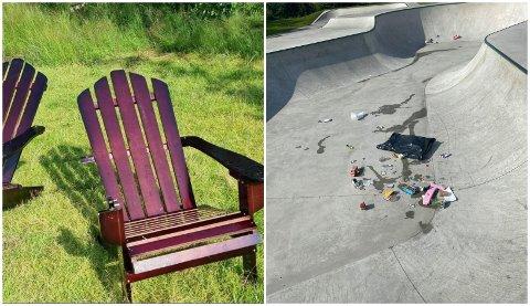 TRIST SYN: Ødelagte stoler og søppel var bare noe av hærverket sokndølene våknet opp til mandag morgen.