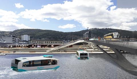 NESTE SOMMER: Hvis alt går som ønsket, kan du allerede sommeren 2022 ta elferjer på elva og i Drammensfjorden. Her også illustrert med ny bybru.