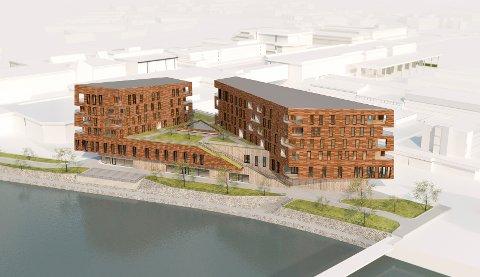 LUFTIG: - Bygget får ei flott og sentral plassering, luftig mot elva, promenaden og grøne lommer, seier arkitekten bak Elvekanten, Idar Grøneng Havn.