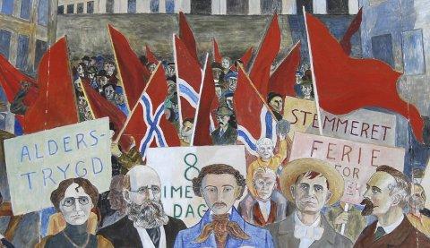 Den røde fane:  Utsnitt av Ragnar Aulies maleri som henger i rådhushallen i Oslo.