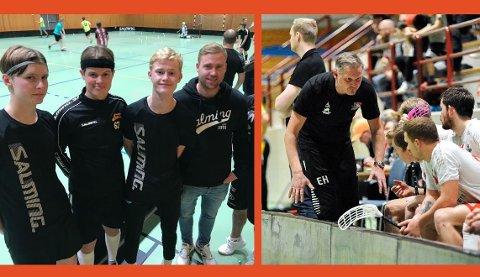 SLUTTSPILL: Jonas Magnussen (t. h. i venstre bilde) har klokkertro på laget. Her sammen med noen av ungguttene som har tatt store skritt denne sesongen. Også ringreven Erik Hæren (høyre bilde) gleder seg til sluttspillet til tross for voksen motstand i form av Greåker.