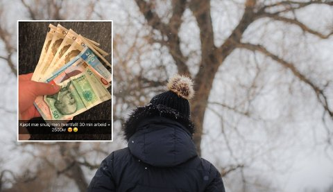 Emilie hevder å ha solgt sex i Trondheim – både i regi av Club4-sjefen og i regi av seg selv. Snapchat-bildet av pengene tok hun angivelig etter hun var ferdig med et sexsalg som hun selv fikset. Foto: Therese Alice Sanne