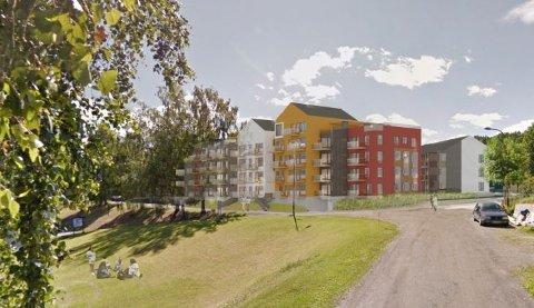 Lillehammer Brygge på Vingnes er planlagt med bygg fra tre til fem etasjer. Nedenfor plenen ligger havneområdet til Lillehammer Båtforening.