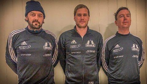 TRIO: Denne trioen får ansvaret for Gran U19 kommende sesong. Fra venstre Rune Larsen, Ole Petter Berget og Mikal Linstad.