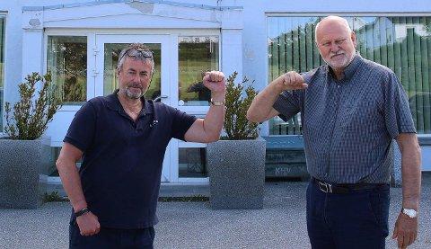 SAMARBEID: De to markante næringslivsaktørene Arne Utvik og Bjørn Apeland skal prøve å restarte planene om leiligheter ved Aksdalsvatnet.