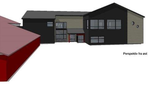STARTER BYGGINGEN: Arbeidet med å lage et nytt flerbrukshus i Berlevåg starter denne uka. Her er hvordan bygget vil bli seende ut fra øst.