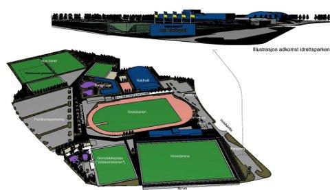 FUGLEPERSPEKTIV: Her er skisse som viser områdeplan for Alta Idrettspark. Skisse: Haldde Arkitekter AS