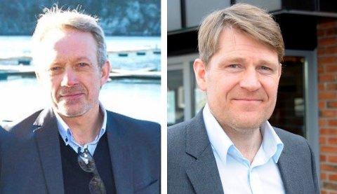 REDUSERER RENTEN: Banksjef Jan Kleppe i Skagerrak Sparebank (t.v.) og banksjef Kjell Nærum i Drangedal Sparebank.
