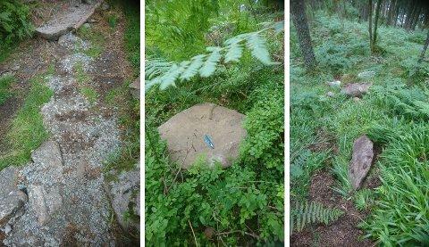 Her ser du nokre av steinhellene som er slengt vekk frå stien. Bjørn Heimvik seier at det kanskje ikkje ser så gale ut på bilda, men at skaden truleg vert omfattande å reparera. fordi ein del store steinar er rulla utanfor og vil vera vanskelege eller umogleg å henta opp igjen.