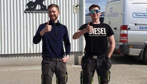 Ivar Strand Halvorsen og Fredrik Slettvoll har klart fagprøven i maskinførerfaget.