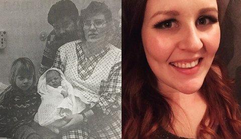 25 ÅR SIDEN: 1. januar 1995 ble Rebekka Andreassen født på Østfold sykehus. Her sammen med mamma, pappa og storesøster. Faksimile: Moss Avis/ Foto: Privat
