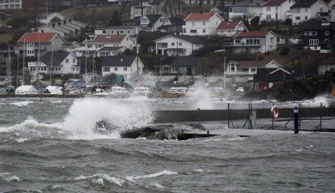 Slik så det ut på Jeløy sist søndag. Torsdag er klart for en ny runde med sterk vind fra syd.