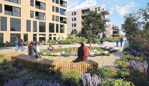 Boligprosjektet sett fra den nye gangveien som planlegges der Poppelstien går i dag, fra Nordstrandveien og innover mot aktivtetsparken. Illustrasjon: A-lab