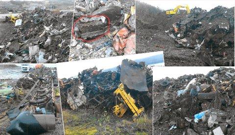 Avfallsselskapet tok disse bildene i forbindelse med utgravingen av søppelfyllinga. De forlangte senere 33,6 millioner for å ta hand om avfallet. Foto: Perpetuum