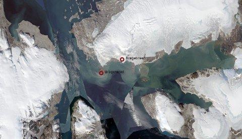 Slik så Brageneset ut da det ennå var dekket til med isbre. Foto: Topo Svalbard