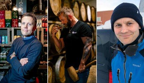 FRUSTRERENDE: Roger Karlsen i Mack, Tor Petter Christensen i Aurora Spirit Distillery og Martin Amundsen i Graff Bryggeri forteller hvordan det er for dem å selge lokale varer til leverandører i Tromsø.