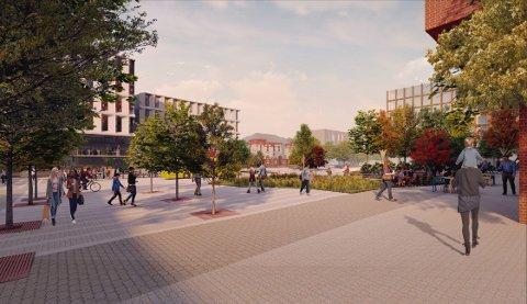 STASJONSOMRÅDET: I området mellom rådhuset og jernbanestasjonen er parkeringsplassene og veien fjernet, og erstattet av store åpne flater og møteplasser. Det går igjen i flere av forslagene fra arkitektteamet i Asplan Viak