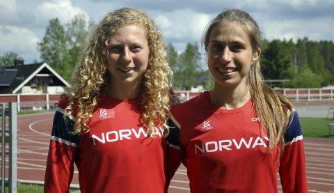 Sølvjenter: Hedda Marie Kjølberg Hauge (t.v.,) tok sølv i stav i innendørs NM. Caroline Fleischer tok også sølv – i høyde.foto: ski il friidrett