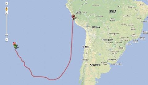 Lang rute: Dette kan bli seileruta tilbake fra Påskeøya fra januar 2016.