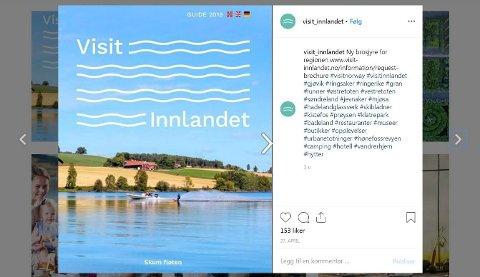 TURISTBROSJYRE: Sånn markedsfører Visit Innlandet den nye turistbrosjyren for Gjøvik, Land, Toten, Hønefoss, Hadeland, Ringerike og Ringsaker på Instagram. (Faksimile fra Instagram)