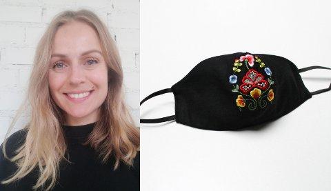 KORONA-TILBEHØR: Ingrid Emma Klæboe Jacobsen, daglig leder i firmaet Oslo Unbranded, mener munnbind til bunad stimulerer folk til å følge smittevernreglene.