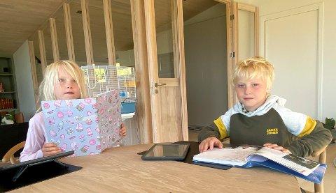 HJEMMESKOLE: Erik og Erle Varfjell Weisser-Svendsen (7) sitter i karantene etter påvist smitte ved Fagerlund skole i Brumunddal.