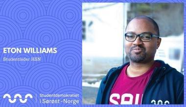Dette studieåret skal Eton Williams arbeide for 18.000 studenter fordelt på åtte campuser i Sørøst-Norge.