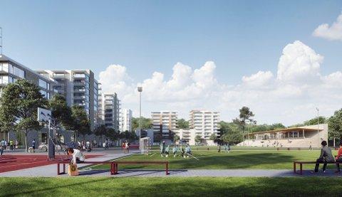 På tegnebrettet: Slik ser de foreløpig skissene til nye Rolvsrud idrettspark med idrettsanlegg og boliger på Skårersletta.Skisse: HRTB arkitekter