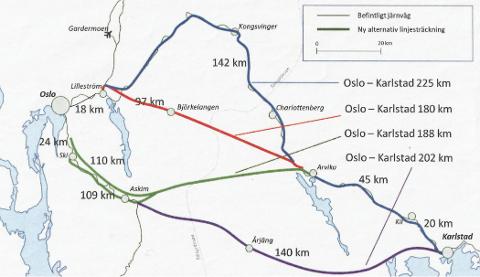 TRE ALTERNATIVER: Her er de tre alternativene skissert i blått, rødt og grønt på kartet. Selskapet Oslo-Sthlm under 3 timer AS jobber for det røde alternativet, mens man på svensk side forholder seg avventende til en trase-konklusjon.