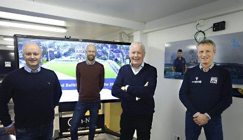 Magne Fiskvik (fra venstre), Martin Williams, Per Otto Dyb og Terje Olsen sitter i styret til KBK. Snart skal eliteserieklubben ta stilling til hva de skal mene om forslaget som vil ha boikott av fotball-VM i Qatar.