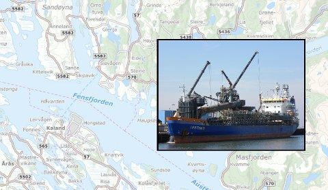 Om bord på skipet Tertnes vart 11 av 17 arbeidarar påvist koronaviruset. På bildet var skipet i Rotterdam, Nederland.