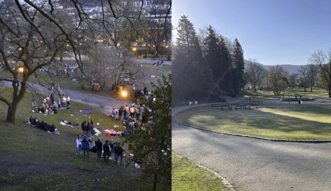Det er som natt og dag i Nygårdsparken fra fredag kveld til lørdag morgen. Ryddemannskapet var tidlig ute med å rydde bort fredagens festligheter.