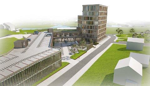 SÅNN KAN DET BLI: Dette er planene for Egersund Forum på tomta der Dalane Energi i dag ligger. Går det som Arbeiderpartiet vil, blir dette det første av flere høybygg i området rundt jernbanestasjonen.
