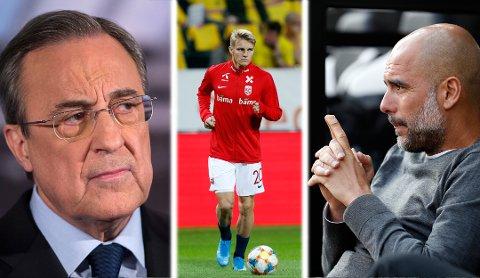 INTERESSERT I ØDEGAARD?: Manchester City og Josep Guardiola (t.h.) skal være interessert i Martin Ødegaard, men Real Madrid-president Florentino Perez har lagt ned mye prestisje i unggutten.